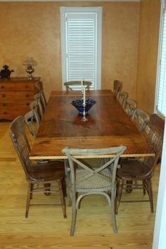 Simple farmhouse table with end leaves for expanded seating.