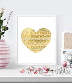 This item is unavailable Nursery Prints, Wall Art Prints, Framed Prints, Tribal Heart, Aztec Gold, Makeup Room Decor, Gold Foil Print, Dorm Decorations, Watercolor Print