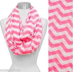 Hot Pink and White Wide Print Chevron Infinity Loop Scarf 34 x 68 Soft Polyester