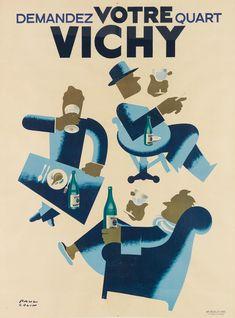 PAUL COLIN (1892 1986) VICHY DEMANDEZ VOTRE QUART 1948 65x4 Art Deco Print, Water Cycle, Auction, Bring It On, Mid Century, War, Modern Food, Artist, Modernism