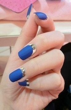 I don't like reverse French nails. I don't like violet blue nails. Combine them, and I'm looking for the nearest exit.