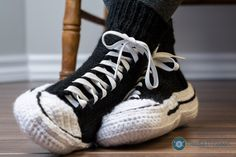Hand crochet converse style slippers by NeedleNspoon