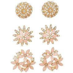 Charlotte Russe Embellished Flower Stud Earrings - 3 Pack ($6) ❤ liked on Polyvore featuring jewelry, earrings, gold, multi colored earrings, earring jewelry, charlotte russe earrings, colorful jewelry and multicolor earrings
