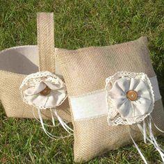 Burlap Flower Girl Basket and Ring Bearer Pillow by WeddingsbySam, $55.00