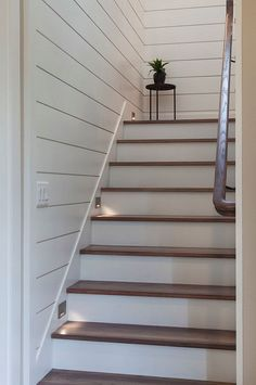 Home Remodeling Stairs Shiplap staircase Shiplap staircase Shiplap staircase with lights and White Oak Threads Paint Color is Sherwin Williams Pure White Home Stairs Design, Interior Stairs, Stair Design, Basement Makeover, Basement Renovations, Basement Steps, Basement Ceilings, Basement Bars, Basement Finishing