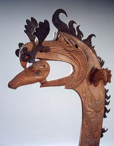 Pazyryk Culture (Scythian) Pommel, Century BC Wood and leather walking stick pommel in the form of a large griffin holding a deer in its beak. Found in the Second Pazyryk mound, Big Ulagan,. Ancient History, Art History, Hermitage Museum, Iron Age, Le Far West, Ancient Artifacts, Ancient Civilizations, Prehistoric, Archaeology