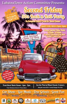 "Lahaina, HI Lahaina Town comse alive with Classic Cars and live Rock'n'Roll entertainment in Campbell Park by the Benny Uyetake Band with a special performance from Maui Theater's ""Burn'n Love"" starting at 5:… Click flyer for more >>"