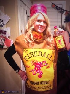 Kelly: This is me! I love fireball whisky and so I decided I wanted to become fireball whisky for Halloween! I made the costume myself and spent about $35 in materials...