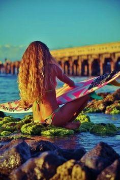 surfer girl in summer! lovely time at sunset