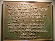 """At the Statue of Liberty, there is a bronze plaque with the words of the poem """"The New Colossus"""" raised on it. Statue Of Liberty Plaque, The New Colossus, Sms Text, Student Information, Immigration Policy, Conceptual Design, School Fun, Poems, Spikes"""