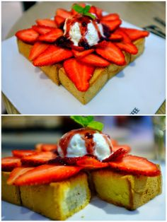 Toast with vanilla ice cream and strawberries at Dal.Komm, Damansara Uptown.