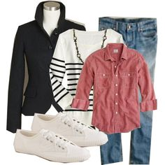 A fashion look from October 2011 featuring Old Navy sweaters, J.Crew blazers and J.Crew jeans. Browse and shop related looks.