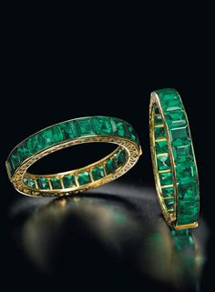 a pair of antique emerald Indian bangles (estimate: $1.5 million – $2 million)