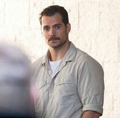 Henry Cavill waiting for make up-on the set of Mission Impossible six.