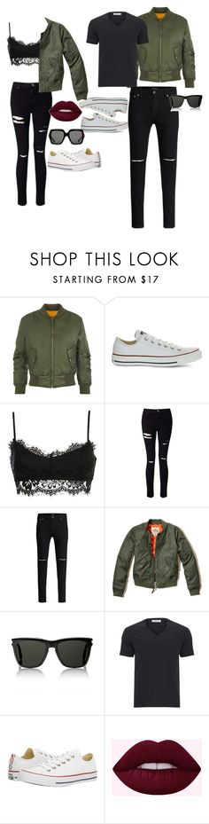 """""""His and Hers"""" by nadyadeannisa on Polyvore featuring WearAll, Converse, Miss Selfridge, Hollister Co., Yves Saint Laurent, Versace, Gucci, converse and couple"""