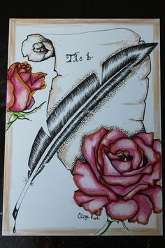 """Ink drawing of a scroll, quill and roses. 5""""X7"""" https://www.etsy.com/listing/206768313/ink-drawing-of-scroll-quill-and-roses?ref=listing-shop-header-3"""