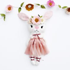 Excited to share this item from my shop: Binky bunny heirloom doll Binky Bunny, Alice In Wonderland Costume, Bride Of Frankenstein, Liberty Fabric, Cute Bunny, Felt Flowers, Gifts For Girls, Dolls, Doll Toys