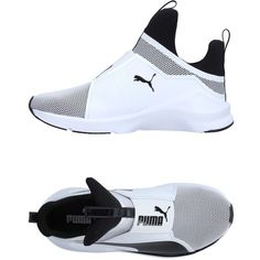 Puma Sneakers ($104) ❤ liked on Polyvore featuring shoes, sneakers, white, round toe flat shoes, print shoes, two-tone shoes, flat footwear and puma footwear