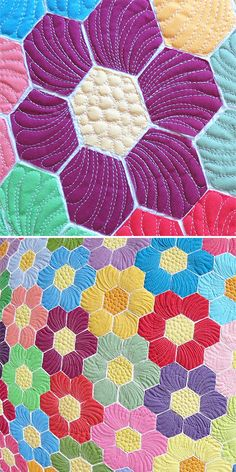 Quilting feathers on hexagons- 3D quilt design; raw edge applique  with mosaic effect. #appliquepatterns  #mosaicquilt