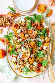 Easy grilled peach panzanella salad is perfect for a summer salad or side dish! Panzanella is a bread-based salad that's delicious with freshly grilled peach slices and topped with walnuts!