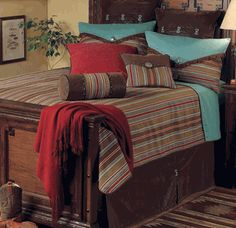 Turquoise, brown, and red are the colors in our master bedroom right now