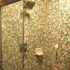 Mosaic tile in shower for #MosaicMonday #TileSensations *