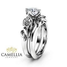 Special Reserved - Princess cut Moissanite Engagement Ring Set 14K White Gold Matching Rings Flower Roses Engagement Ring from camellia jewelry. #moissanite #engagementrings #moissanitering #rosering #ringset.