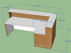 Ergonomic Office Furniture Timber Body White Corian Top Desk in 2019 Office Counter Design, Reception Counter Design, Office Reception Design, Modern Reception Desk, Office Table Design, Dental Office Design, Office Furniture Design, Design Table, Balcony Furniture