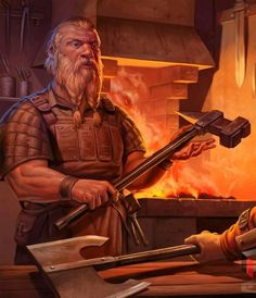 m Dwarf Blacksmith Weaponsmith male Dwarven Fortress forge merchant WarHammer med Fantasy Dwarf, Fantasy Warrior, Fantasy Rpg, Medieval Fantasy, Fantasy World, Dungeons And Dragons Characters, Dnd Characters, Fantasy Characters, Vikings
