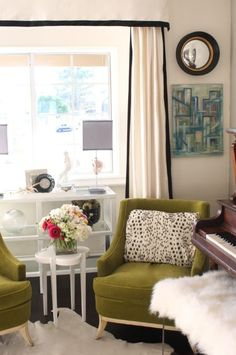 Black ribbon trim on each of the white panels to create a look similar to this (without the valance):  From Full House