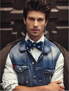 Clever - denim best + bowtie. Not forgetting that lush hair!