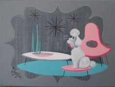 EL GATO GOMEZ PAINTING RETRO 1950S MID CENTURY MODERN EAMES KNOLL FRENCH POODLE in Art, Art from Dealers & Resellers, Paintings | eBay