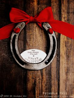 CUSTOM - The Fleur De Lis Merry Christmas Horseshoe (TM) - Personalized Equestrian Welcome Decor for Your Home