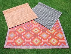 Outdoor Rugs – Extra Large. These eco-friendly outdoor rugs are made from recycled polypropylene derived from shopping bags and other plastic waste. Fully reversible the pattern looks great on both sides and can easily dress up any outdoor space. Cleaning is super easy too… simply take outside and hose clean.