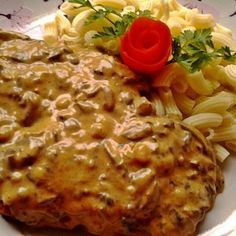 Sertésszelet bakonyi módra Hungarian Recipes, Italian Recipes, Hungarian Food, Meat Recipes, Cooking Recipes, Roasted Pork Tenderloins, Pork Dishes, Food 52, Macaroni And Cheese