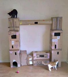Cat condo idea for when the crazy cat lady runs out of money.  old boxes!