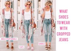 Ever wondered what shoes to wear with cropped jeans? I have you covered in this long post with all the options plus easy dos and don'ts with example photos. Ankle Boots With Jeans, How To Wear Ankle Boots, How To Wear Leggings, Shoes With Jeans, Cropped Jeans Outfit, White Jeans Outfit, Jeans Outfit Summer, Cropped Pants, Cut Jeans