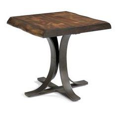Rustic Log-Cut Lamp Table with Dark Iron Base