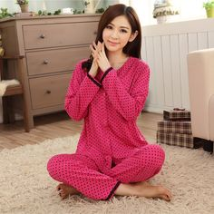 cotton pajamas female spring autumn long-sleeve plus size 100% sleepwear pajama sets lounge set