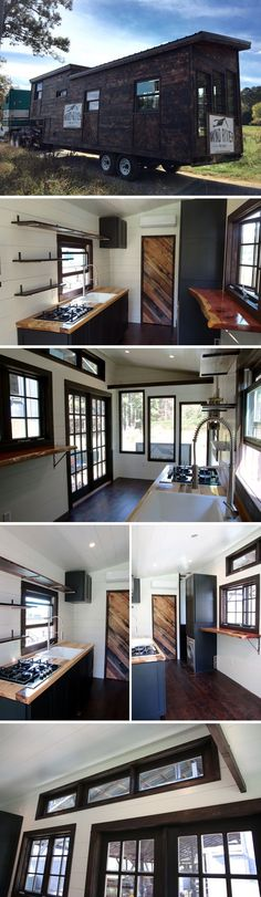 A gooseneck tiny house with a Shou Sugi Ban cedar exterior. The interior continues the theme with dark wood accents, hardwood flooring, and cabinets.