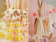Details for this dessert table in this maileg rabbit themed party