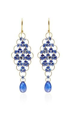 Cabochon Blue Sapphire Kite Earrings by Mallary Marks