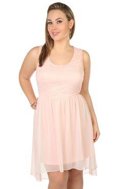 Deb Shops #peach plus size high low lace day #dress