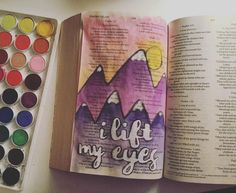 i lift up my eyes to the mountains. where does my help come from? my help comes from the Lord the Maker of heaven and earth. ( Psalm 121:1&2 )  ...  #bibleverse #biblejournaling #mountains #hills #art #watercolor #paint #bible by themasonjarboutique