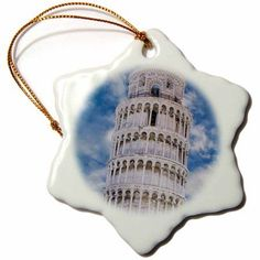 3dRose Italy, Pisa. View of top part of the Leaning Tower., Snowflake Ornament, Porcelain, 3-inch