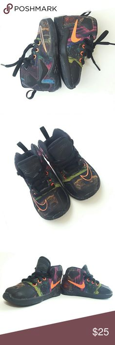 Nike LeBron James Multi-colored Toddler Shoes 5c Nike, LeBron James, toddler sneakers, black and multi-colored, sparkle bottoms, gently used and clean, great condition, size 5c. Nike Shoes Sneakers