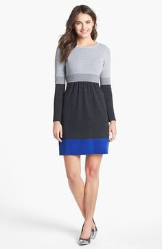Eliza J Colorblock Sweater Dress available at #Nordstrom...with leggings for the cold weather!