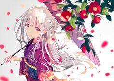 Emilia - Re:zero Anime Kimono, Kawaii Anime Girl, Anime Girls, Anime Flower, Dibujos Anime Chibi, Image Manga, Anime Kunst, Yukata, Re Zero