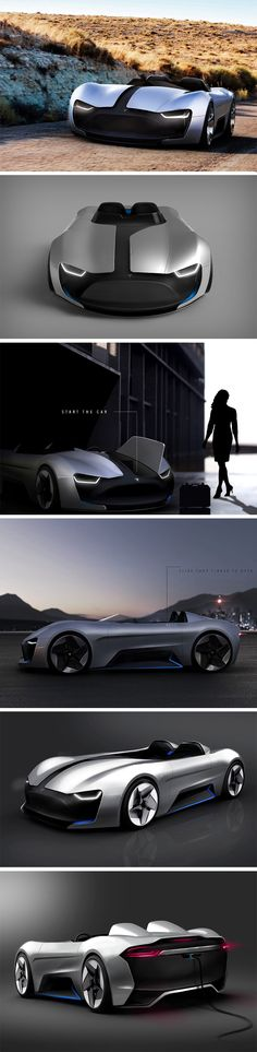 let's look at, or rather drool over this Tesla Roadster Y concept by Vinícius Buch, a student at UDESC, Brazil. The car features an incredibly slick aesthetic that takes a lot of design cues from BMW's ConnectedDrive concept, in the sense that it too is open-top, features clever use of planar surfaces, a silver and black paint job, and most importantly, featuring asymmetry into its design. The car also cleverly presents the visual illusion of having a grill on the front.
