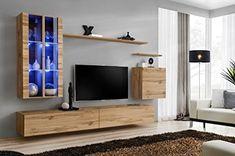 Domadeco Soho 12 wall mounted tv units modern unique furniture for living room Color (Oak & Oak)